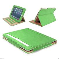 """S-Tech iPad 2 3 4 Generation 9.7"""" Smart Case (Original iPad Models) Soft Leather Wallet Magnetic Cover Stand with Document Pocket for Apple (Green)"""