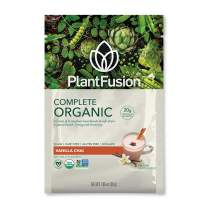 PlantFusion Complete Organic Plant Based Pea Protein Powder   Fermented Superfoods   Vegan, Gluten Free, Non Dairy, Soy Free, Vanilla Chai, 12 Single Servings