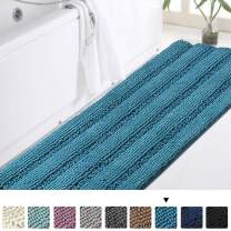 "Turquoise Bathroom Rug Non Slip Chenille Bath Mat for Bathroom Thick Plush Rugs for Shower Shaggy Bathroom Mat Machine Washable Bath Rug Perfect for Bathroom Tub Mat, Size 47"" X 17"", Turquoise Blue"