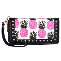 Women Wallet Double Zip Around Wristlet with Perforated Stud RFID Blocking