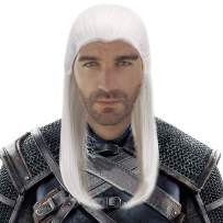 Silver Gray Long Straight Cosplay Geralt Wig-Man Synthetic Game Anime Role Play Hair Wigs for Party Costume Halloween