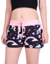 HDE Womens Juniors Pajama Shorts Sleep Wide Waistband Design Print Yoga Bottoms