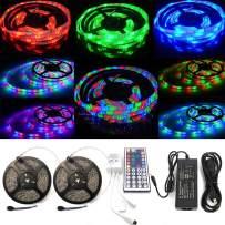 ELENKER LED Strip Lights Kit, Waterproof Flexible Color Changing 3528 SMD RGB 600 LEDs 32.8ft 10m with 44 Keys IR Remote Control and 12V Power Supply for DIY Home Bedroom Kitchen Decoration Lighting