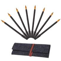 Sketch Tools Set,Sketch Paper Pens Black Brush Sketch Tools Set with Bamboo Sticks Scraper Repair Dual-Tip Sketch Pen Brush Felt Storage Bag 8Pcs