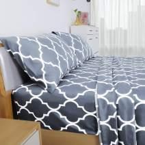HOMEIDEAS 4 Piece Bed Sheet Set (Full, Quatrefoil Silver Gray) 100% Brushed Microfiber 1800 Bedding Sheets - Deep Pockets