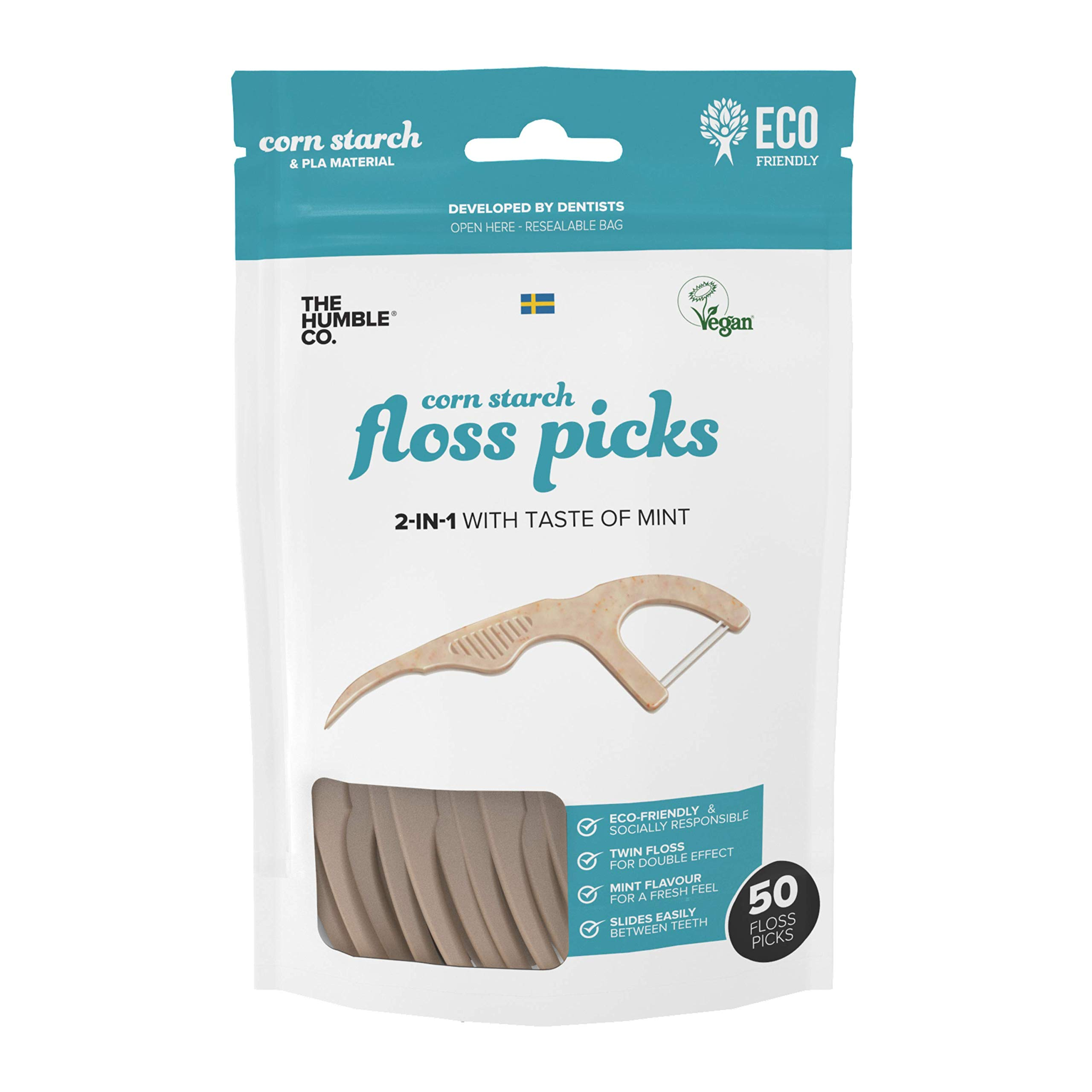 The Humble Co. Natural Dental Floss Picks (200 count) - Vegan, Eco Friendly, Sustainable Flossers for Zero Waste Oral Care. Helps Remove Plaque and Gives a Fresh Feel (4 packs of Mint)