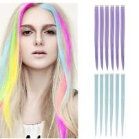 """Creamily 12 Pcs Multi-Colors Party Highlights Clip on in Hair Extensions Synthetic Hairpieces (20"""" Straight, 6 Pcs Baby Blue + 6 Pcs Light Purple)"""