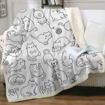 """Sleepwish Cat Blankets and Throws Sherpa Throw Blanket Super Soft Reversible Ultra Luxurious Plush Blanket Pet Fleece Bed Sofa Blanket Cat Gifts for Her Him,White, Baby(30""""x40"""")"""