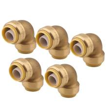 90 Degree Elbow Plumbing Fitting Pipe Connector, 3/4 Inch, PEX Fittings, Push-to-Connect, Copper, CPVC, Pack of 5