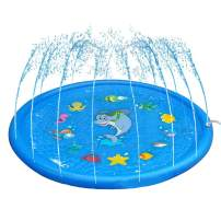 Winterworm 68-in Blue Splash Play Mat &Sprinkler Pad Summer Outdoor Water Play for Children Infants Toddlers Boys Girls and Kids