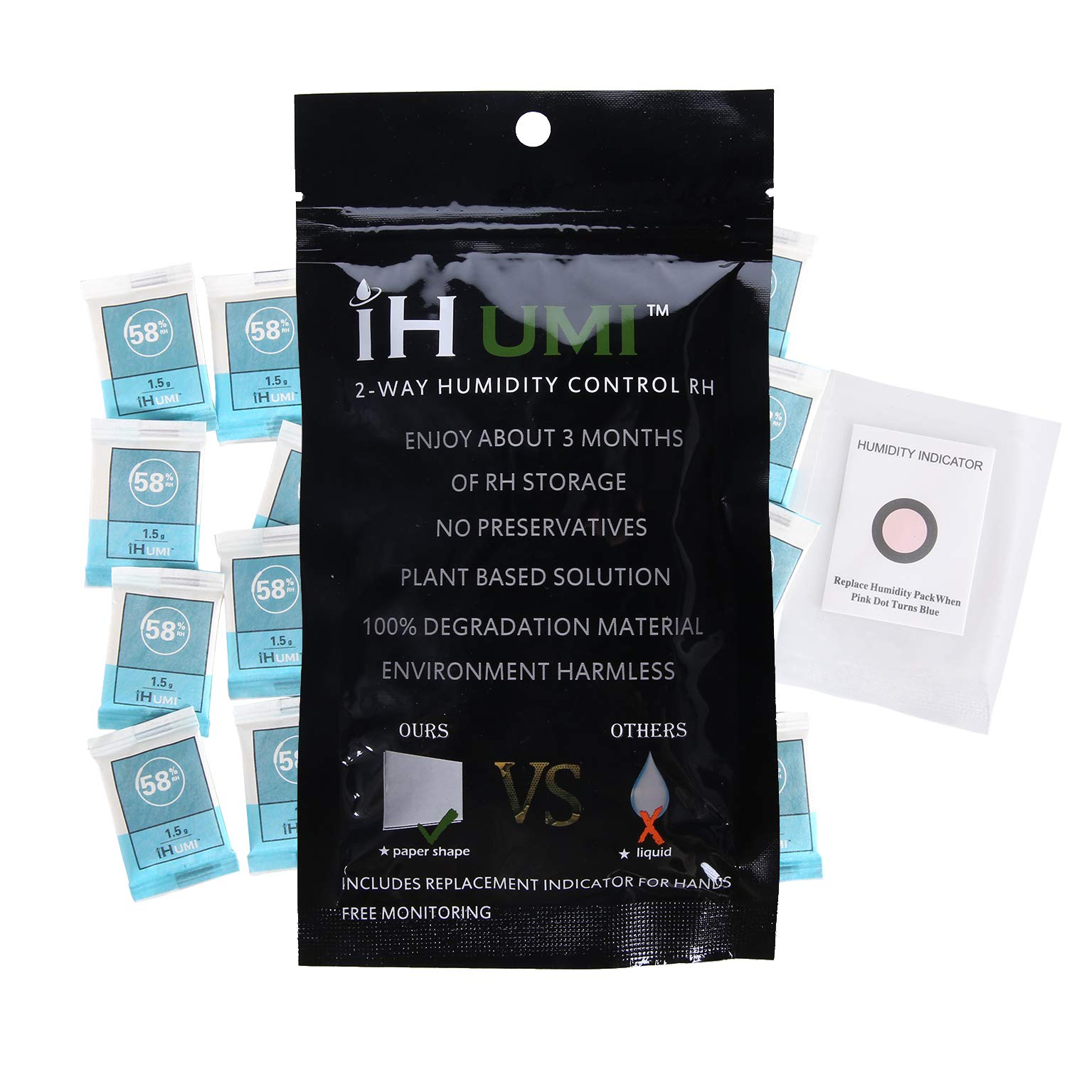 IHUMI Cigar Humidifier,58% RH Humidity Packs, 2-Way Humidity Control for Herb Flower Packs,Natural Plant Fiber and Polymer Materials Based,Bio-degradable and Leak Free,1.5 Gram,20 Pack