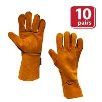 SAFE HANDLER Reinforced Welding Gloves Leather for Extra Dexterity, Double Palm Reinforcement, Heat Resistant for Ovens, BBQ, Grill, Fireplace, Furnace, Stove, Welder, Animal Handling, 10 Pairs