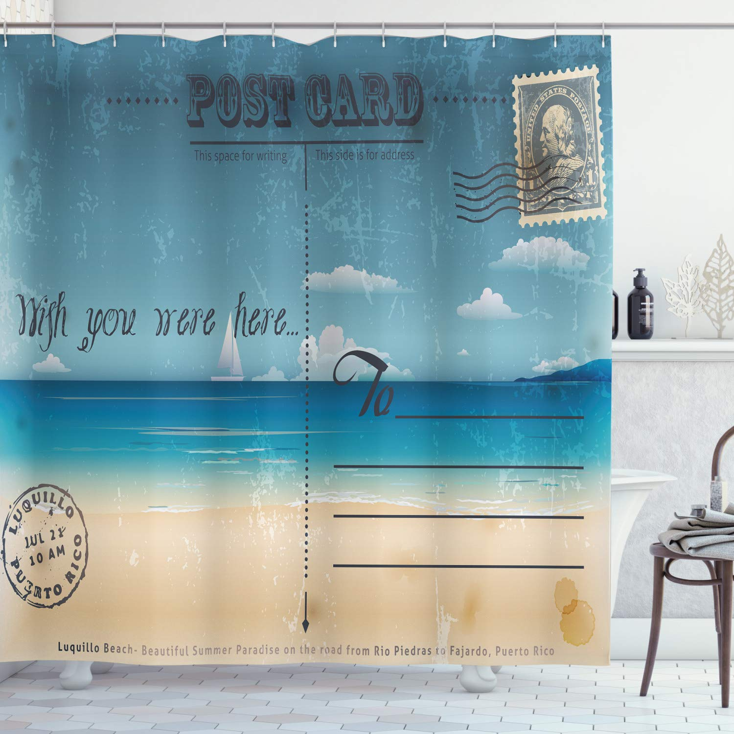"""Ambesonne Travel Shower Curtain, Nostalgic Tropical Summer Season Backdrop on Vintage Card Stamp Travel Print, Cloth Fabric Bathroom Decor Set with Hooks, 75"""" Long, Brown Teal"""