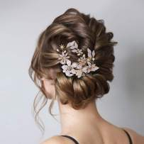 AW BRIDAL Wedding Hair Clip Comb Rose Gold Hair Piece Flower Girl Headpiece Bridal Barette Wedding Hair Accessories for Bride Bridesmaid