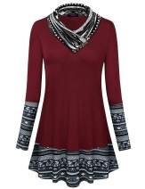 Sufiya Women's Cowl Neck Long Sleeve Tunic Tops Casual Sweatshirts with Buttons