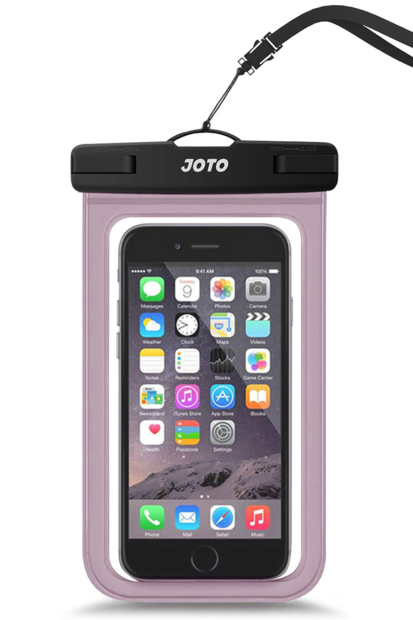 """JOTO Universal Waterproof Pouch Cellphone Dry Bag Case for iPhone 11 Pro Max Xs Max XR X 8 7 6S Plus, Galaxy S20 Ultra S20+ S10 Plus S10e S9 Plus S8/Note 10+ 10 9 8, Pixel 4 XL up to 6.9"""" -Clearpurple"""
