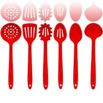 Red Silicone Cooking Utensils Set – Sturdy Steel Inner Core – Spatula, Mixing & Slotted Spoon, Ladle, Pasta Server, Drainer – Large Kitchen Tools - Bonus Recipe Ebook