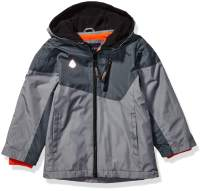LONDON FOG Boys' Toddler Midweight Water Resistant Hooded Jacket, Grey and Black, 2T