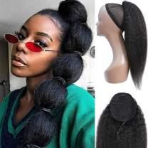 Feelgrace Ponytail Hair Clip in Hair Extension Kinky Straight Human Hair Extension 130 Gram/Pcs Silky Soft Brazilian Hair (20 Inch, Kinky Straight)