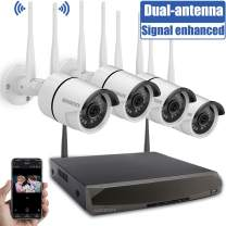 Security Camera System Wireless,8 Channel Home Outdoor Wireless Surveillance Camera System and 4Pcs 960P WiFi Security Weatherproof IP Camera with Night Vision,Remote View,NO Hard Drive