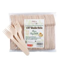 """Gmark 100 ct Wooden Forks, 6.5"""" Length, No Plastic Earth-Friendly, Disposable Biodegradable Wooden Cutlery, Green Product (Bag of 100pcs) GM1044"""