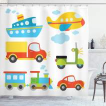 """Ambesonne Nursery Shower Curtain, Abstract Transportation Types with Car Ship Truck Scooter Train and Aeroplanes, Cloth Fabric Bathroom Decor Set with Hooks, 75"""" Long, Yellow White"""