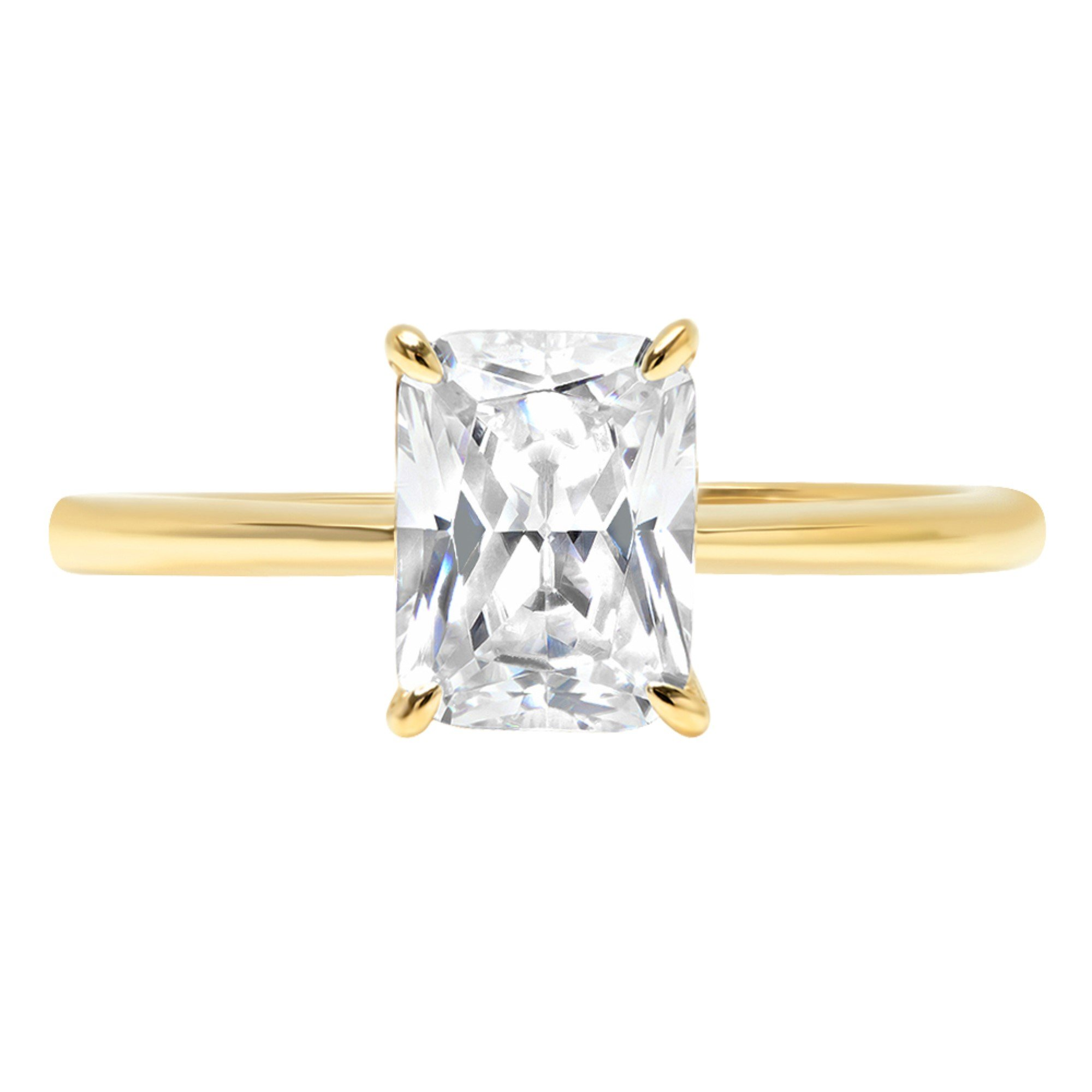 2.45ct Brilliant Radiant Cut Solitaire Highest Quality Moissanite Ideal D 4-Prong Statement Ring in Solid Real 14k Yellow Gold for Women