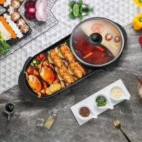 Kacsoo Electric Grill Indoor Hot Pot Grill, Korean all-in-one bakeware,Teppanyaki Grill/Sha bu Pot with Divider Separate Dual Temperature Contral, Capacity for 2-10 People Family Gatherings Indoor Barbecue Party