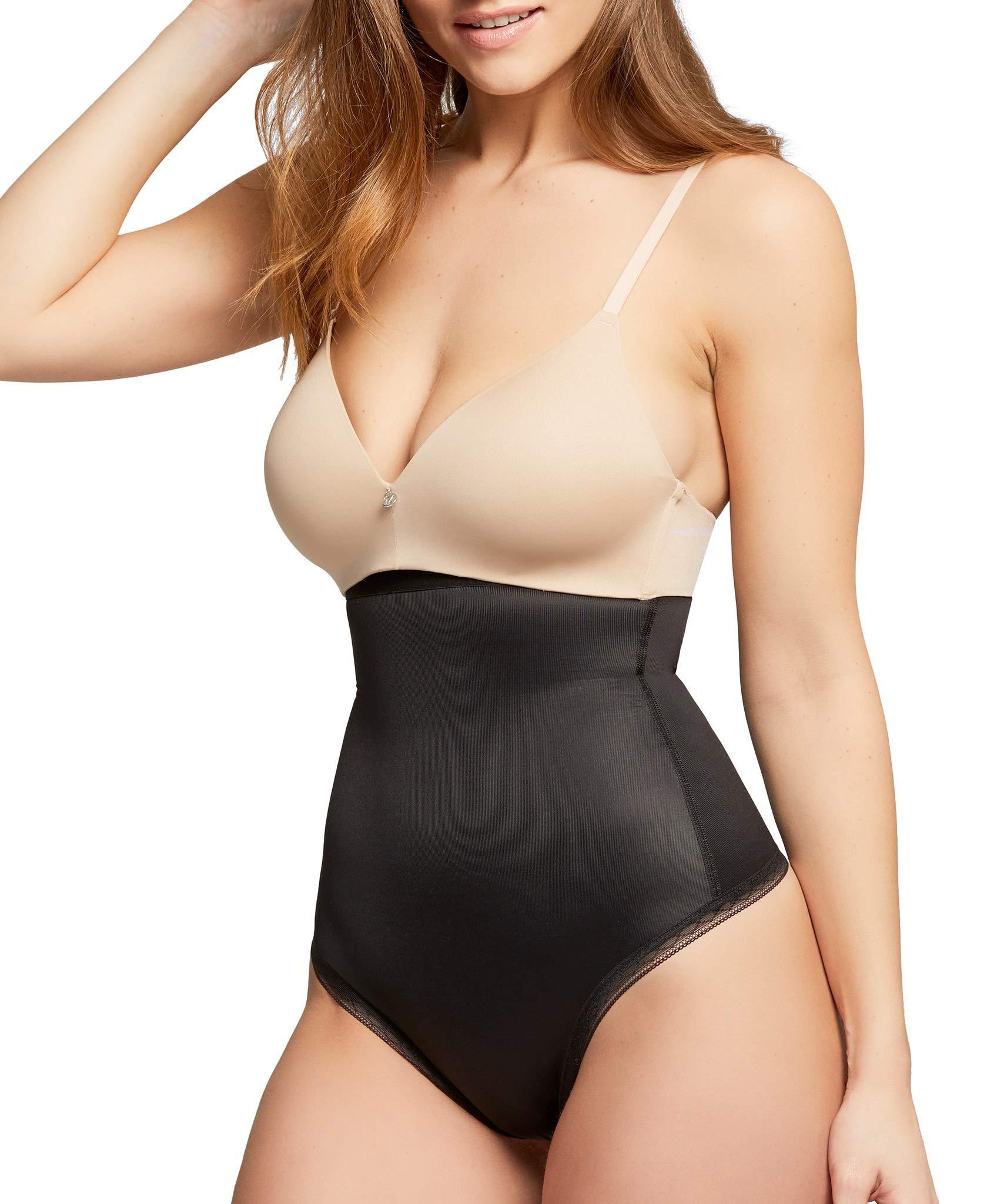Montelle Women's Plus Size Thong Shapewear Firm Tummy Control High Waist Body Shaper Thong