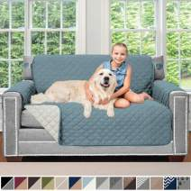 Sofa Shield Original Patent Pending Reversible Loveseat Protector for Seat Width up to 54 Inch, Furniture Slipcover, 2 Inch Strap, Couch Slip Cover Throw for Pets, Kids, Dogs, Love Seat, Seafoam Cream