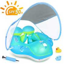 LAYCOL Baby Swimming Pool Float with Removable UPF 50+ UV Sun Protection Canopy,Toddler Inflatable Pool Float for Age of 3-36 Months,Swimming Trainer (Blue, L)