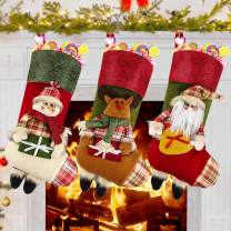 """Dreampark Christmas Stockings, 3 Pack 18"""" Big Classic Xmas Stockings Santa Snowman Reindeer Xmas Decorations and Home Party Supplies (Color 3)"""