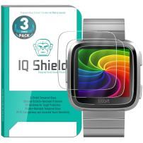 IQ Shield Glass Screen Protector Compatible with Fitbit Versa (3-Pack) Clear Tempered Ballistic Glass HD and Transparent Shatter-Proof Shield, 99% Touch Accuracy