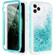 Caka Case for iPhone 11 Pro Case Glitter Liquid Full Body Protection with Built in Screen Protector for Girls Women Girly Diamond Floating Quicksand Bling Protective Case for iPhone 11 Pro (Teal)