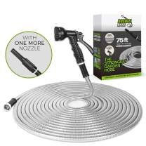 Metal Garden Hose 75FT, Water Hose,Outdoor Hose, Lightweight, Ultra Flexible and Tangle Free, Dog Free& Kink Free,304 Stainless Steel Hose with 2 Free Nozzles, Cool to Touch,Tough and Durable,BOSNEL