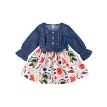 Infant Toddler Baby Girls Halloween Dress Ruffled Button Pumpkin Printed Bowknot Long Sleeve Denim Fall Skirt