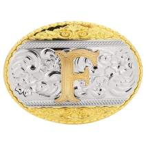 Western Belt Buckle Initial Letters ABCMJRS to Z-Cowboy Rodeo Gold Belt Buckle for Men and Women
