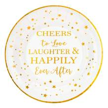 """Crisky Cheers to Love Gold Plates for Bridal Shower, Wedding, Engagement, Bachelorett Party Decorations, Dessert, Buffet, Cake, Lunch, Dinner Disposable Plates Party Supples, 50 Count, 9"""" Plate"""