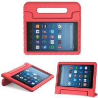 MoKo Case for All-New Amazon Fire HD 8 Tablet (6th/7th/8th Generation, 2016/2017/2018 Release) Kids Shock Proof Convertible Handle Light Weight Protective Stand Cover Case for Fire HD 8,RED