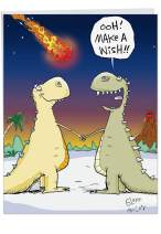 Funny Dinosaur Make A Wish Happy Birthday Card (Big 8.5 x 11 Inch) - Big, Bold, and Colorful Animal B-Day Wishes for Kids and Adults - Hilarious Prehistoric Congrats Greeting Card with Envelope J9735