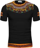 Shenbolen Men's African Print Shirt Dashiki Fashion T-Shirt Tops