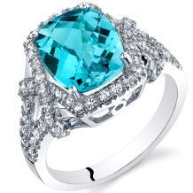 Swiss Blue Topaz Cushion Cocktail Ring in 14K White Gold (3.50 carat)