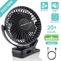 AngLink 5000mAh 6-Inch Large Battery Powered Clip on Fan, 3 Speeds Fast Air Circulating USB Rechargeable Desk fan for Baby Stroller Home Office Camping Outdoors Tent Beach