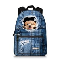 15.5 inch Cute Denim Dog Backpack Canvas Casual Laptop School Backpack Rucksack