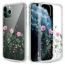 Caka Clear Case for iPhone 11 Pro Max Flower Clear Case Floral Pattern Design for Girls Women Girly Cute Slim Soft TPU Transparent Shockproof Protective Case for iPhone 11 Pro Max 6.5 (Pink Floral)