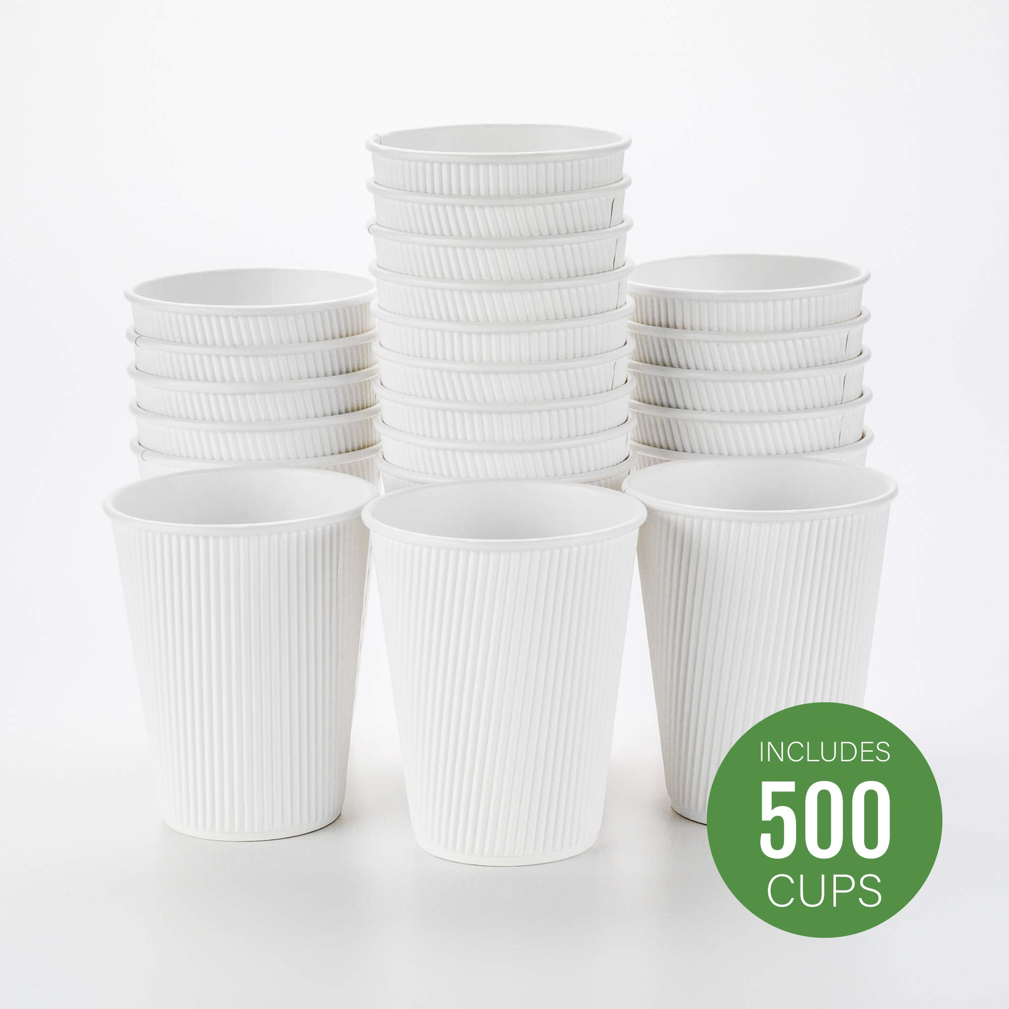 500-CT Disposable White 12-OZ Hot Beverage Cups with Ripple Wall Design: No Need for Sleeves - Perfect for Cafes - Eco-Friendly Recyclable Paper - Insulated - Wholesale Takeout Coffee Cup