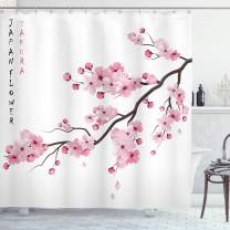 """Ambesonne Asian Shower Curtain, Illustration of Japanese Cherry Branches with Blooming Flowers Spring Themed Boho Art, Cloth Fabric Bathroom Decor Set with Hooks, 75"""" Long, White Pink"""