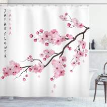 """Ambesonne Asian Shower Curtain, Illustration of Japanese Cherry Branches with Blooming Flowers Spring Themed Boho Art, Cloth Fabric Bathroom Decor Set with Hooks, 70"""" Long, White Pink"""