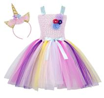 Cotrio Rainbow Unicorn Tutu Dress Girls Princess Halloween Costumes Outfits with Headband