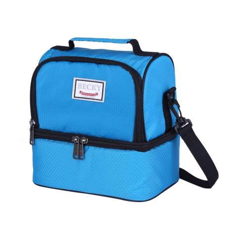 Becky lunch box Insulated Lunch Bag for Men & Women, Waterproof Large Coole Tote Bag for Work/School/Picnic with Double Deck Spacious Compartments Detachable Shoulder Strap (blue) …